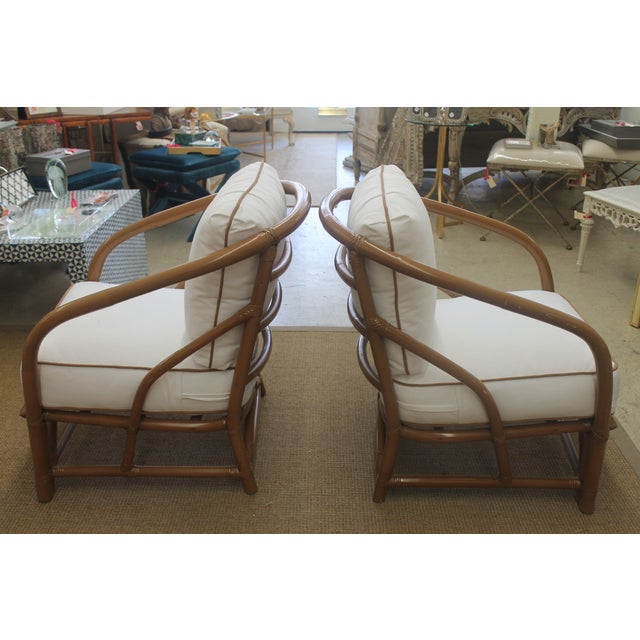 Vintage White Bamboo Chairs - A Pair - Image 3 of 5