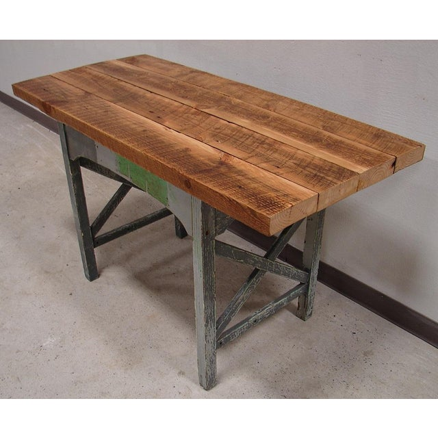 Reclaimed Heart Pine Small Harvest Table or Desk - Image 3 of 4