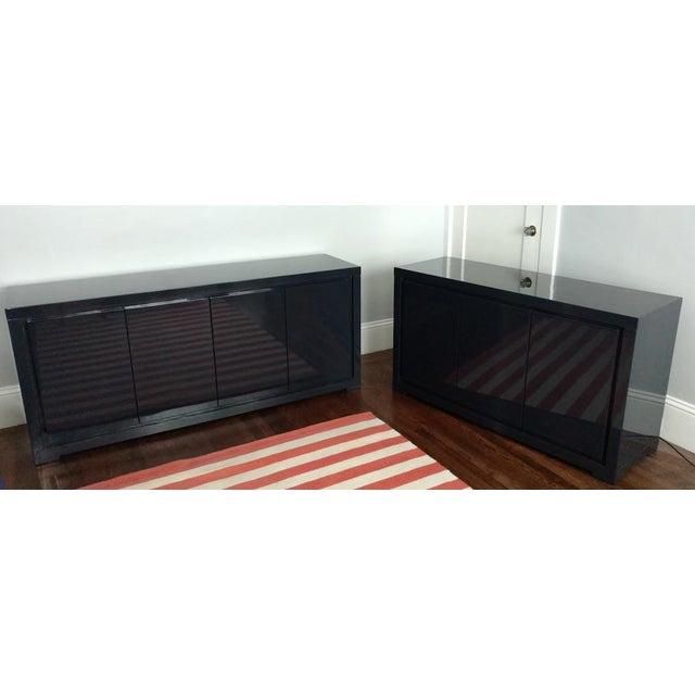 Image of Large Indigo Lacquered Cabinet Credenza