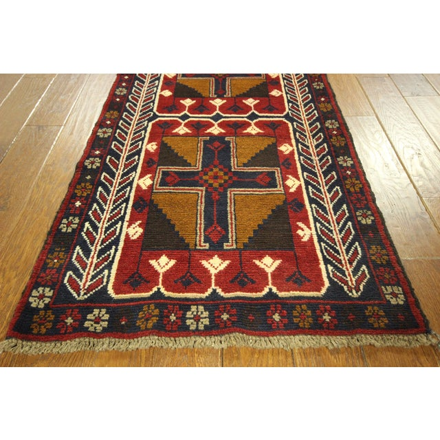 """Persian Baluch Red & Blue Rug - 2'7"""" x 9'10"""" - Image 6 of 7"""