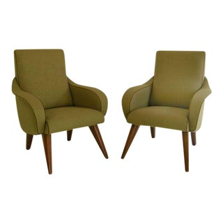 Pair of Elegant Curvy Mid Century Modernist Chairs