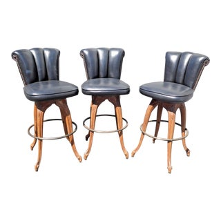 Vintage Mid-Century Black Swivel Barstools - Set of 3