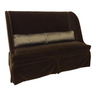 Vintage Lee Industries Chocolate Mohair High Back Love Seat