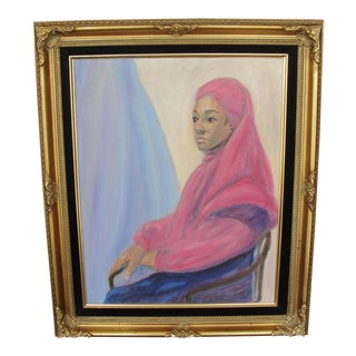 Vintage Oil on Canvas Portrait of African Woman