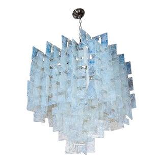 Mid-Century Modernist Iridescent Interlocking Chandelier By Mazzega