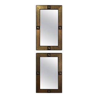 Hollywood Regency Style Gold Brass Morrocan Mirrors - a Pair