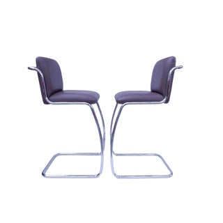 Brueton Modern Leather Barstools - A Pair