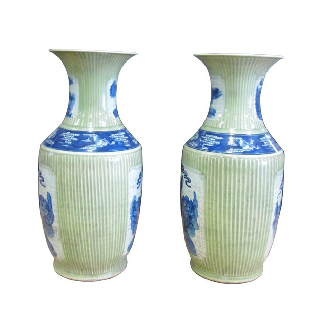 Chinese Porcelain Blue & Green Vases - A Pair - Image 3 of 4