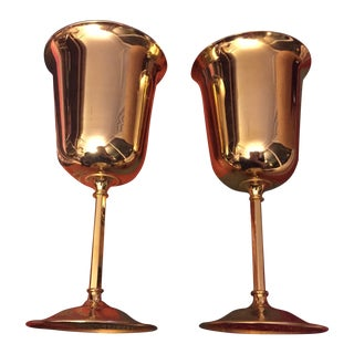 Gold Brass Wine Glasses - Pair