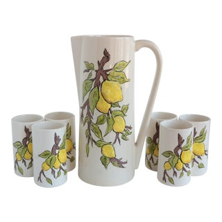 Lemon Branch Pitcher and Tumblers - Set of 6