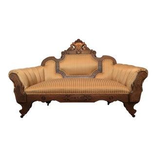 Victorian Ca. 1850 Hand-Carved Mahogany Settee Sofa Loveseat