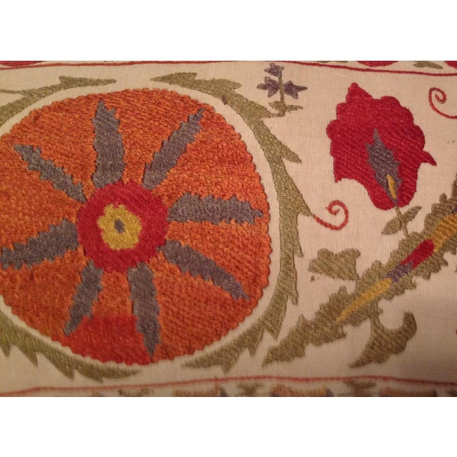 Red & Tan Silk Embrodery Suzani Pillow - Image 3 of 10