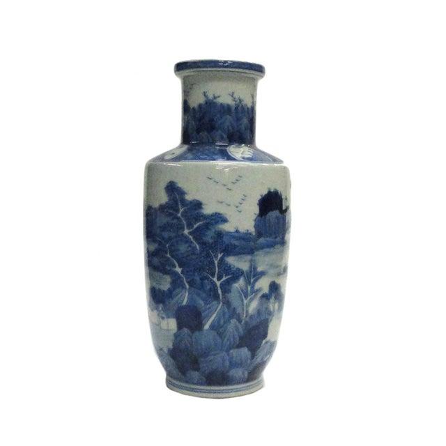 Image of Chinese Blue White Porcelain Scenery Vase
