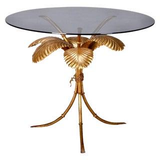 Mid Century Italian Gilt Metal Palm Leaf Side Table