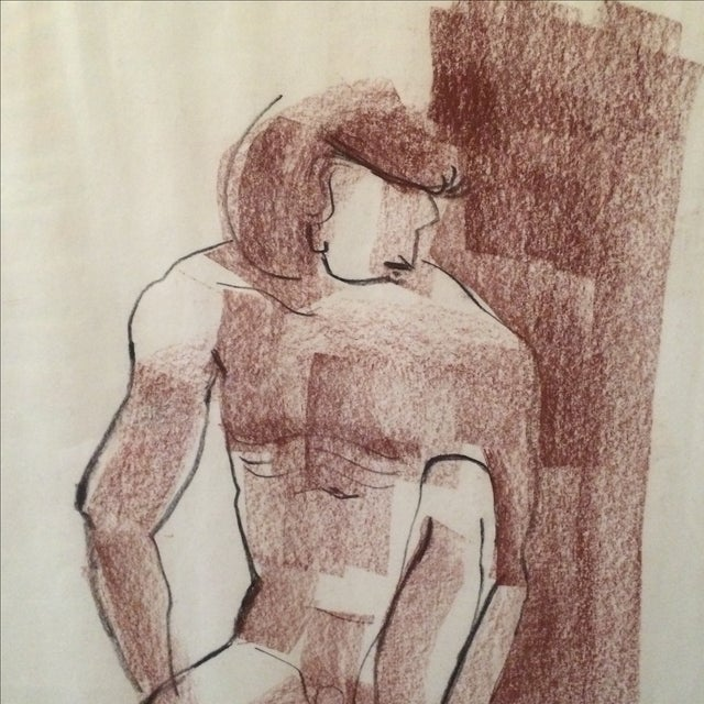 Vintage Charcoal Nude Male Drawing - Image 4 of 5