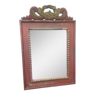 Crimson Carved Wooden Frame Mirror