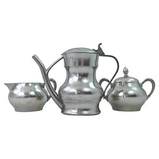 Pewter Teapot Sugar And Creamer - Set of 3