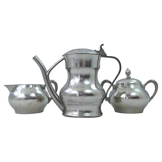 Pewter Teapot Sugar And Creamer - Set of 3 - Image 1 of 7