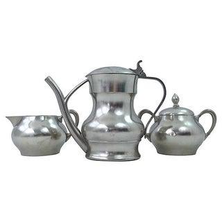Pewter Teapot Sugar And Creamer - Set of 3