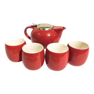 Red Vintage Tea Set - Set of 5