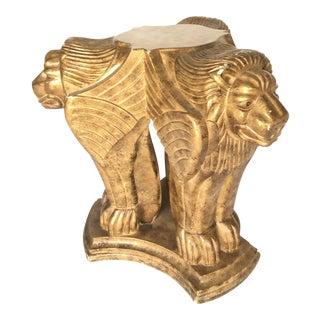 Sculptural Carved Winged Lion Gold Table Base Pedestal