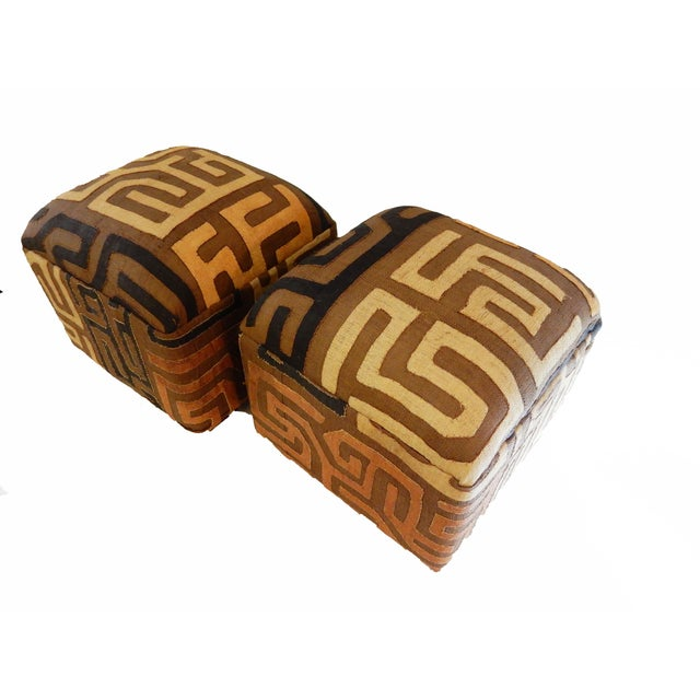 Upholstered Kuba Ottomans - a Pair - Image 5 of 6