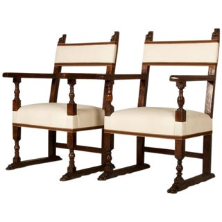 19th Century Spanish Baroque Style Walnut Armchairs - A Pair