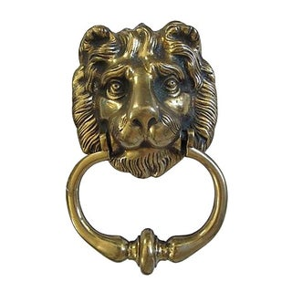 Antique Heavy English Brass Lion Head Door Knocker