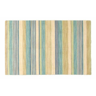 "Blue and Striped Indian Dhurrie - 5'2"" x 8"""