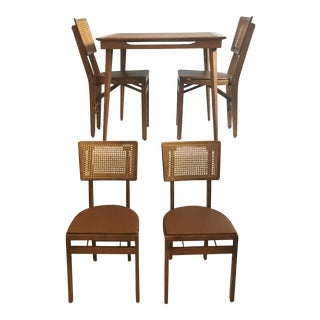 Mid-Century Folding Wooden Game Table & 4 Chairs