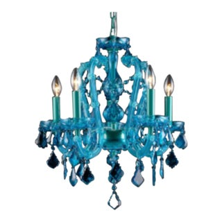 Aqua Blue Crystal Chandelier