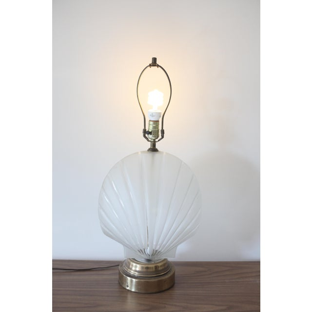 Frosted Glass Clam Shell Lamp With Brass Base - Image 6 of 6
