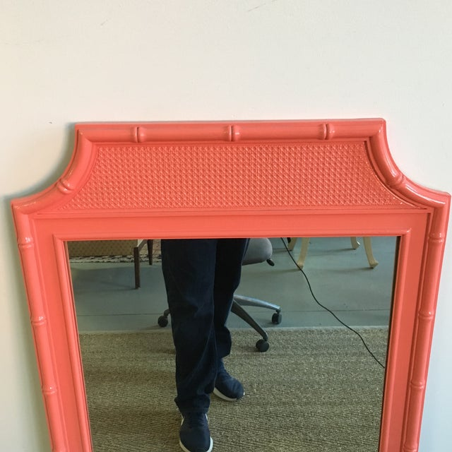 Vintage Coral Faux Bamboo Pagoda Style Mirror - Image 2 of 10