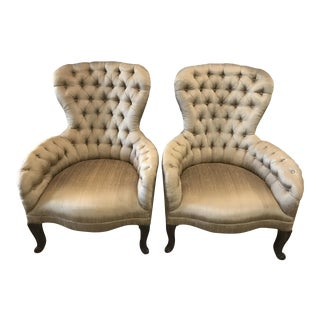 Antique Pale Olive Silk Tufted Chairs - A Pair