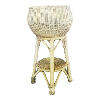 Vintage Tall Rattan Plant Stand