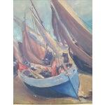 Image of Sailboat Beach Scene Painting