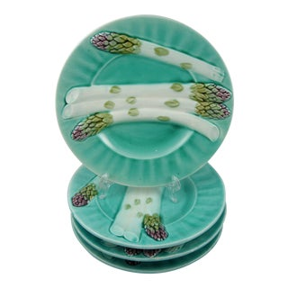 Luneville French Turquoise Asparagus Plates - Set of 4