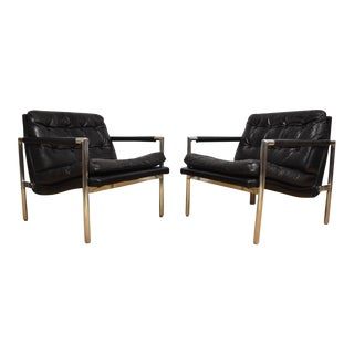 Black Leather & Aluminum Lounge Chairs - A Pair