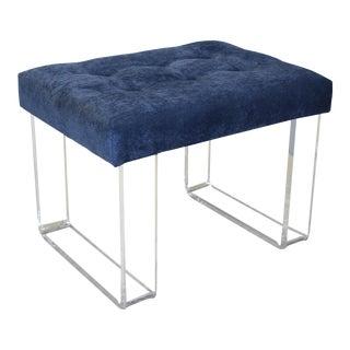 Infinity Style Blue Velvet & Lucite Bench