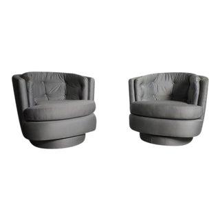Mid-Century Silver Swivel Tub Chairs - A Pair