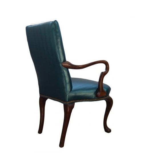 Queen Ann Style Teal Armchair - Image 3 of 3