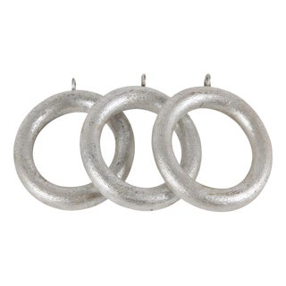 French Silver Leaf Drapery Rings - Set of 33