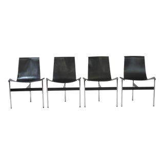 Four T-Chairs by Katavolos, Littel & Kelly for Laverne in Black Leather