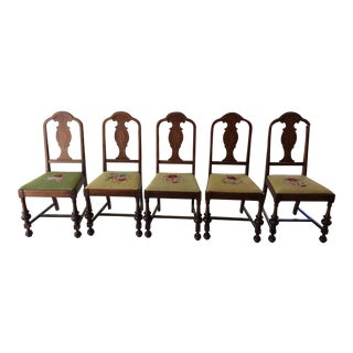 Vintage Hand Embroidered Dining Chairs - Set of 5