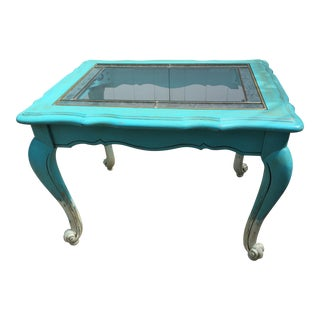 Shabby Chic Turquoise Two Tone Glass Top Accent Table