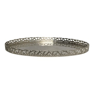 Oval Silver Colored Metal Serving Tray