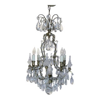 4 Light Brass and Crystal French Chandelier
