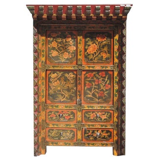 Tibetan Flower Shrine Top Accent Cabinet