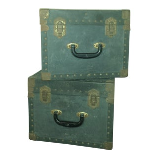 1940's Shipping Trunks Rivets and Metal Hardware - Pair
