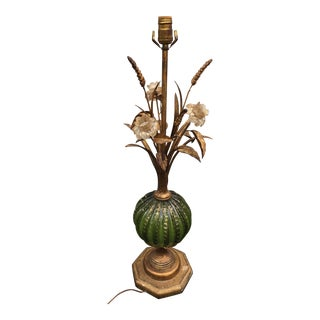 Barovier Murano Green Glass & Gold Floral Table Lamp
